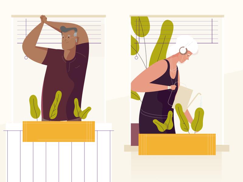 Senior Living styleframe yellows senior characters flat illustration explainer