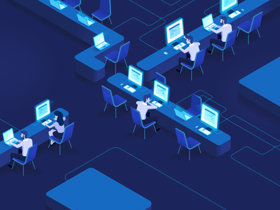 Coding Team website design flat illustration