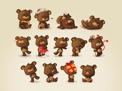 Teddy Bears Stickers illustration stickers photoshop teddy bears bears couple app