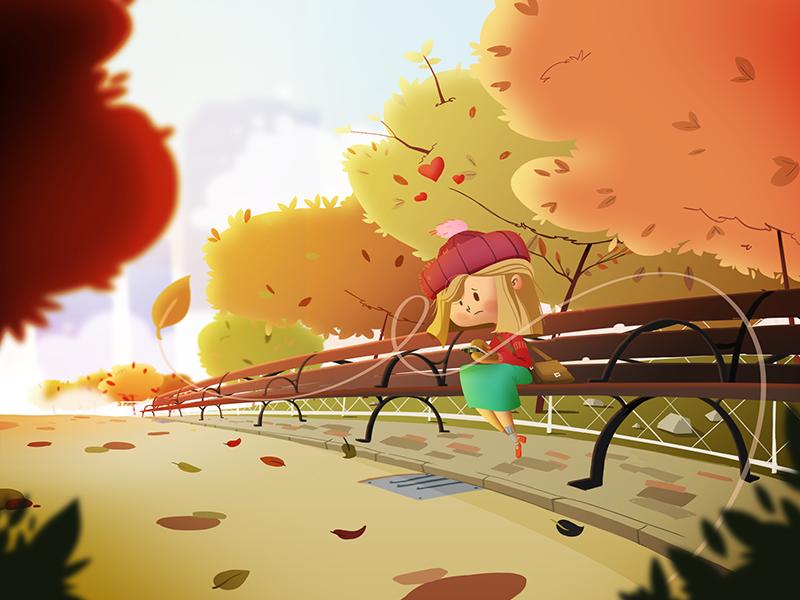 Waiting for love... illustration 2d art cartoon autumn girl love