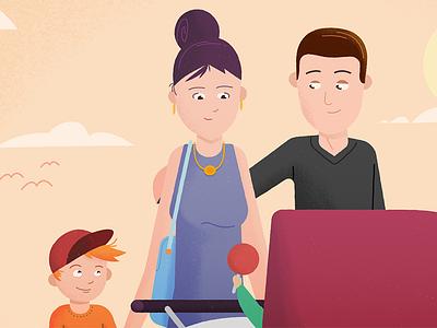 Happy Family pastel colors child illustration explainer flat