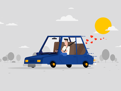 Driving Home video explainer flat love home driving car