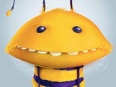 Big Bee Illustration cartoon character illustration yellow bee