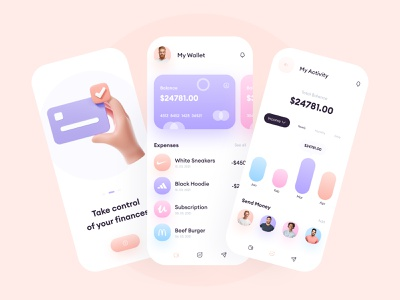 Online Wallet - Mobile App Design financial app finance app trendy design inspiration figma soft colours minimalist minimal ui  ux ui mobile ui banking app bank app mobile app mobile wallet app wallet uiux ui design uidesign