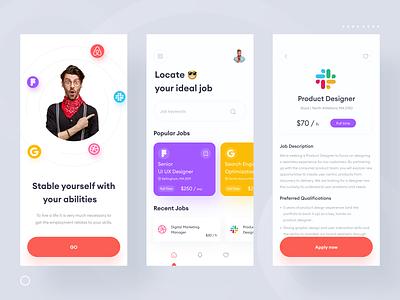 Job Finder App Design 💼 ux  ui minimalism ui  ux job application job portal job search app minimal jobsearch jobseeker job finder job app jobs job ios app ui app design uiux ui design uidesign