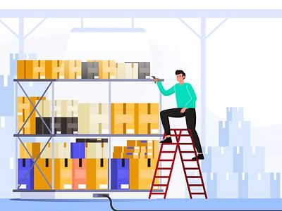 warehouse clerk checks storage items storage clerk warehousing warehouse inventory flat designs flatdesigns flatillustration flat  design flat illustration flat design flatdesign flat