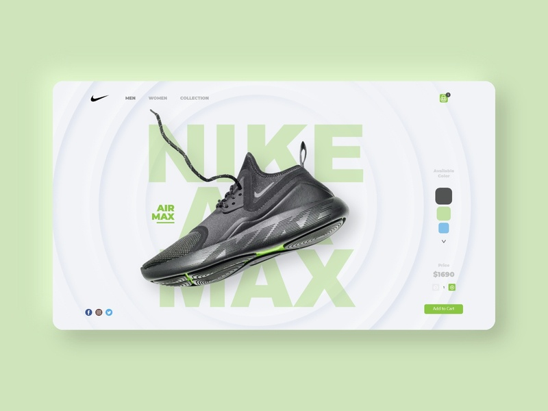 Web Nike Store UI shoes nike shoes green user interface website concept nike uidesign uiux ui website builder website web webdesign