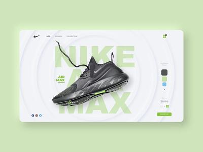 Web Nike Store UI shoes nike shoes green user interface website concept nike uidesign uiux ui website builder website web webdesign