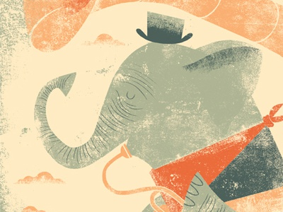 Tuba & Trunks illustration screenprint childrens book nursery