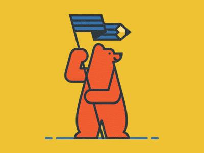 Bear pencil flag bear