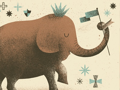 The Elephant is King! flag crown elephant illustration