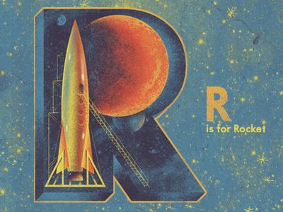 R is for Rocket howdy mates illustration alphabet