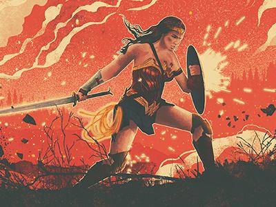 Wonder Woman Illustrated Movie Poster gal gadot lasso sword shield wwi poster film theatre comic wonder woman