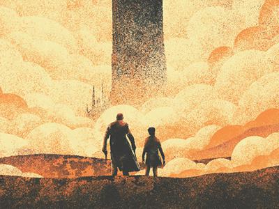 The Dark Tower orange gunslinger dark movie movie poster graphic texture poster book novel comic dark tower
