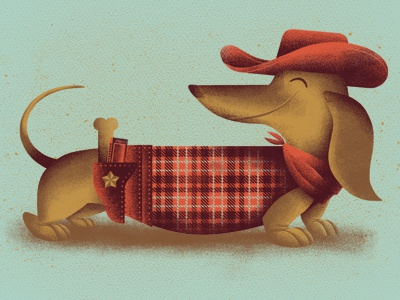 Your Best Friend pt. 2 daschund illustration dog cowboy harmonica