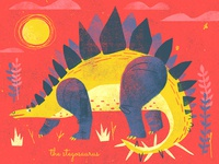 Steggie Baby graphic art kids art dinosaur print dino print childrens books vintage illustration childrens illustration screenprint stegosaurus dinosaurs dinosaur dino