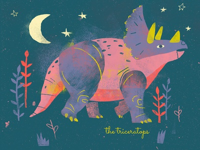 Triceratops Print dinosaurs kids room nursery childrens prints childrens art vintage art texture illustration digital print screenprint dino print dino series dino dinosaur