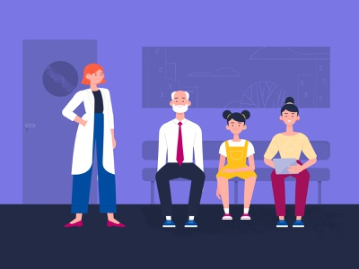 Sala de espera design animation explainer video colorful vector illustration