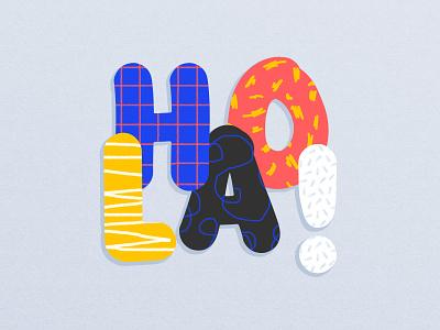 HOLA brush colorful illustration card