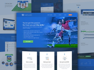Fantasy Football Landing Page iconography football landing page fantasy sports ui web web design isoflow