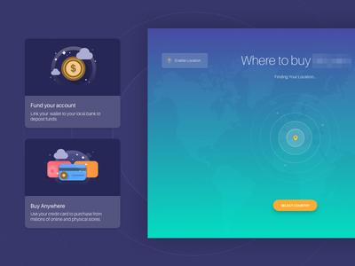 Dark UI location finder & card design