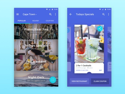 Coupon Mobile App minimal clean food mobile design colourful restaurant coupon cards android ui mobile isoflow