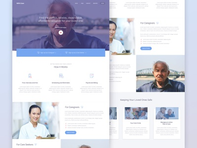 Caregiver Marketing Site desktop marketing site help website ui isoflow clean minimal web care seeker caregiver landing page