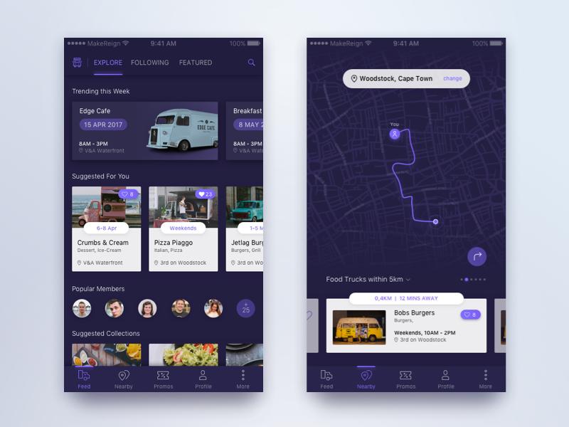 Dailydesigns tracking design inspiration for Food truck design app