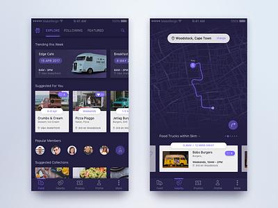 Food Truck Discovery App Concept makereign light dark ux ui app food truck mobile ios