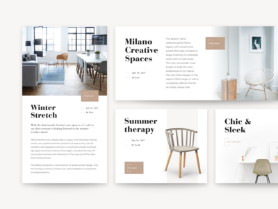 Editorial Article Cards  neutral clean interior ux ui furniture creative sketch product article cards