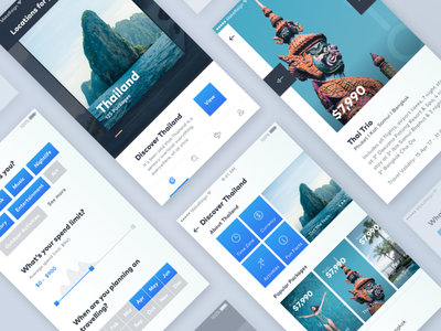 Travel Tour App Concept design minimal clean filter mobile ui gradient cards travel