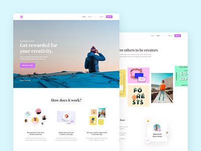Over Artist Website Exploration app type photgraphy ui website concept creator content artists community pastel color aboutus landing page clean website