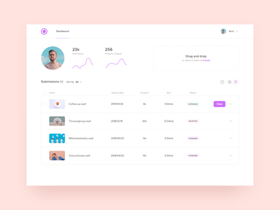 Over Artist Dashboard list view status minimal cards upload drag and drop submissions videos analytics list dashboard application ux web design clean ui