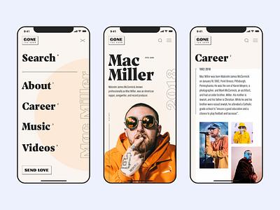 Tribute to Mac Miller - Artists lookup lookup mobile navigation navigate iphone x images typogaphy minimal clean ios menu career about musicians artists mac miller