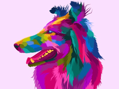 colorful dog pop art