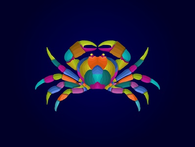 colorful crab pop art vector style