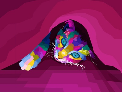 colorful cat pop art