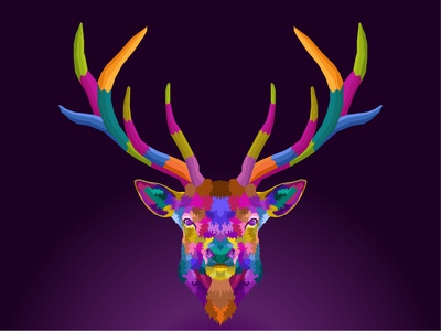 colorful deer pop art portrait