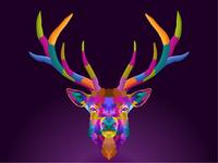 colorful deer pop art portrait