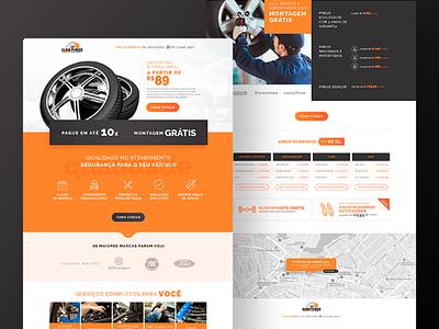 Tire Store Landing Page car shop web page auto parts auto car tires tire web landing page design ui