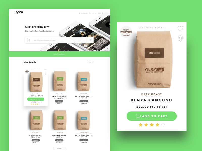 Spinn Coffee Marketplace coffee green interface shop ecommerce uiux marketplace