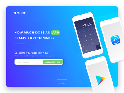 Landing Serie :: App Cost campaign email iphone android ios calculator marketing landing app