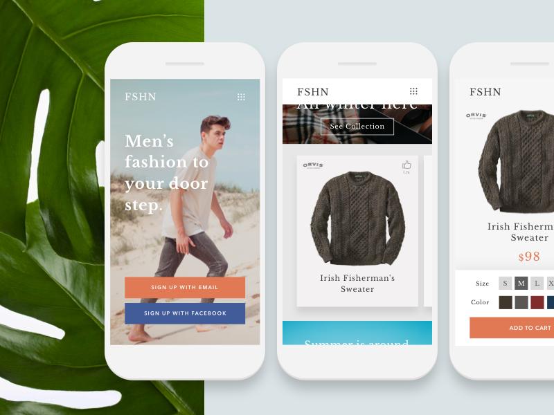 FSHN :: App ui ux x iphone flat palm responsive app men fashion