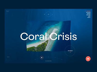 Ocean project - underwater slider effect orange coral blue wave ocean creative animation web design website digital ux design web ui