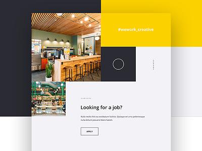 Wework Creative homepage orange web design web interaction mockup digital design ux ui animation creative wework