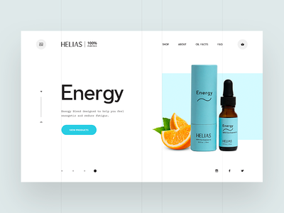 Helias oils - home page product mockup interface orange blue typography image clean creative design web design digital ux ui essential oil helias