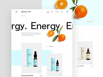 Helias oils - Energy product blend website creative clean mockup web design ux ui digital web design aromatherapy essential oil orange
