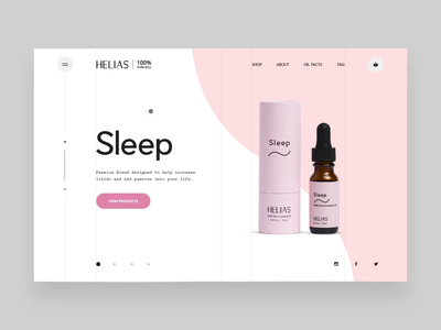 Helias Oils - drop down menu to detail page interaction webgl animation interaction interactive ui ux website web mockup wave e-commerce digital design oils essential