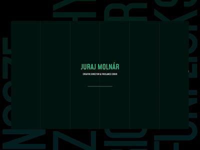 Juraj Molnár - portfolio experiment ui ux black green intro animejs animation motion interactive mockup website web freelance digital design portfolio