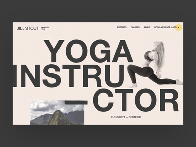 Hoboken Yogi - home page top section color pastel bold big imagery typography website web design digital ux ui mockup hoboken yoga